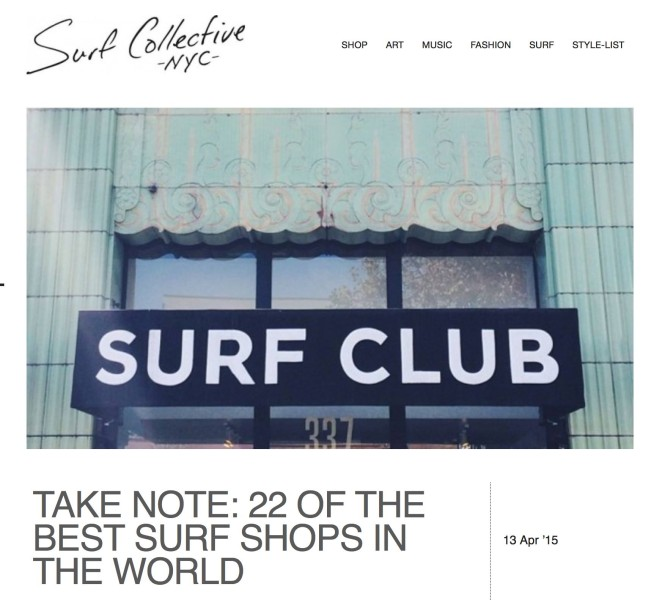 Ete Clothïng is on the list of the 22 best surfshops in the world.